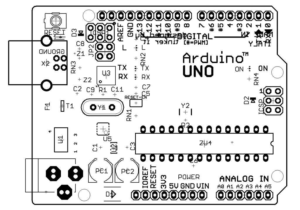 Монтажная схема Arduino Uno