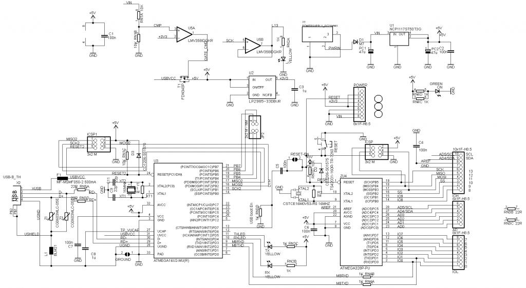 Принципиальная схема Arduino Uno