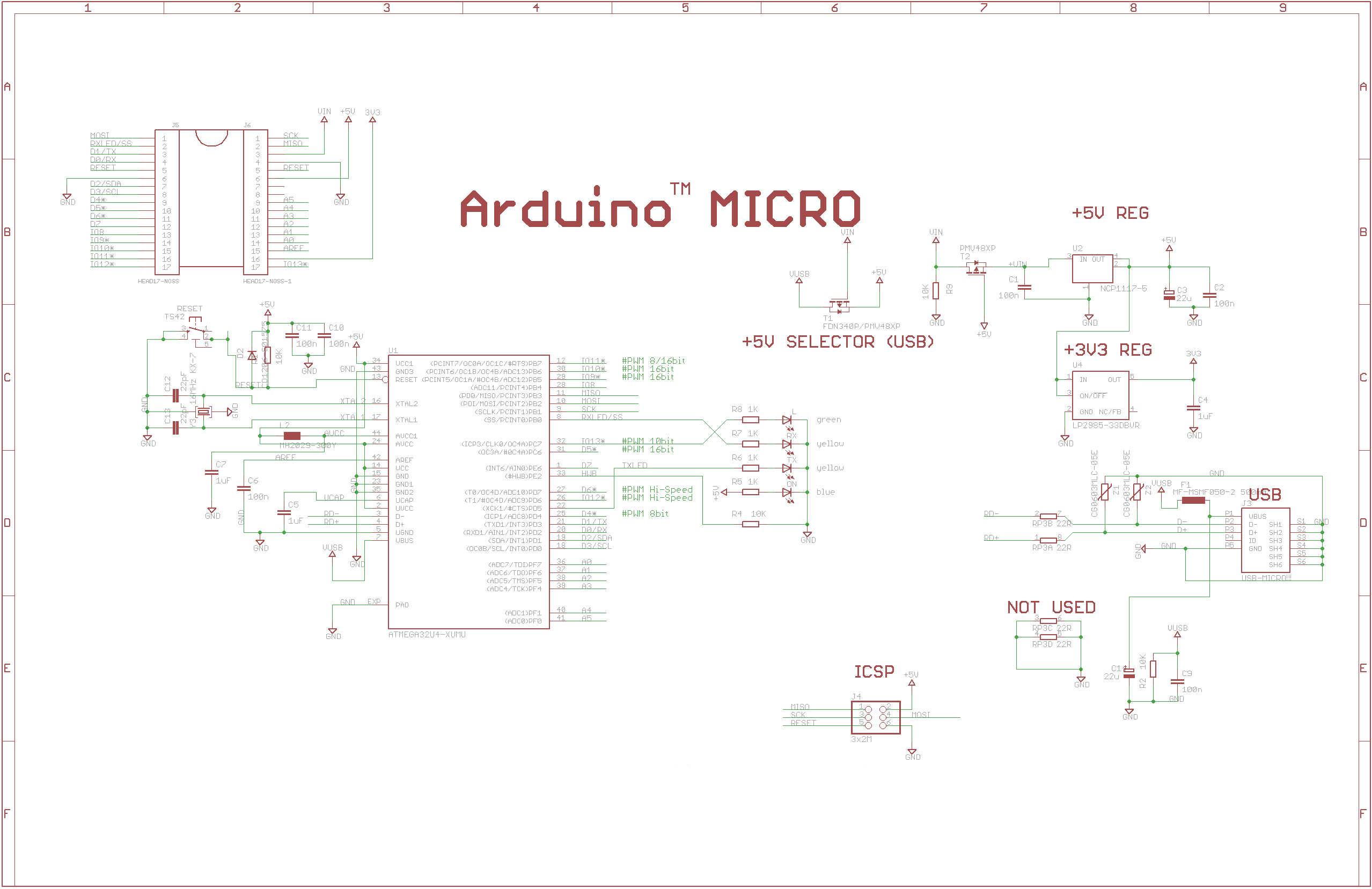 Схема Arduino Micro